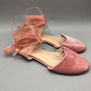 ASOS pink velvet ballet style ribbon tie flats